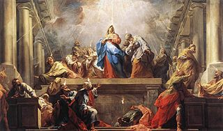 A Western depiction of the Pentecost, painted by Jean Restout, 1732
