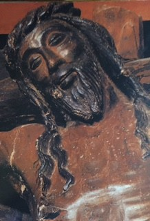 Spanish icon of Jesus on the cross smiling